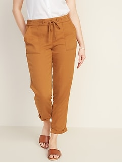 Mid-Rise Soft Twill Pull-On Utility Pants for Women