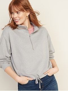 8fb0294b30494 French Terry 1/4-Zip Drawstring-Hem Pullover for Women