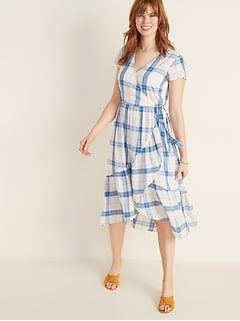 Waist-Defined Faux-Wrap Tiered-Hem Midi for Women
