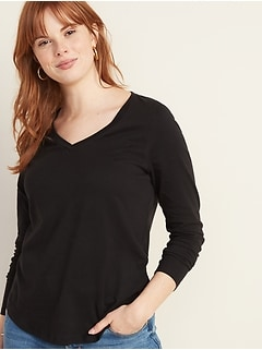 EveryWear Long-Sleeve V-Neck Tee for Women