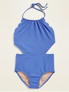 Textured Side-Cutout Swimsuit for Girls