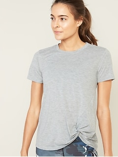 Relaxed Side-Tie Performance Tee for Women