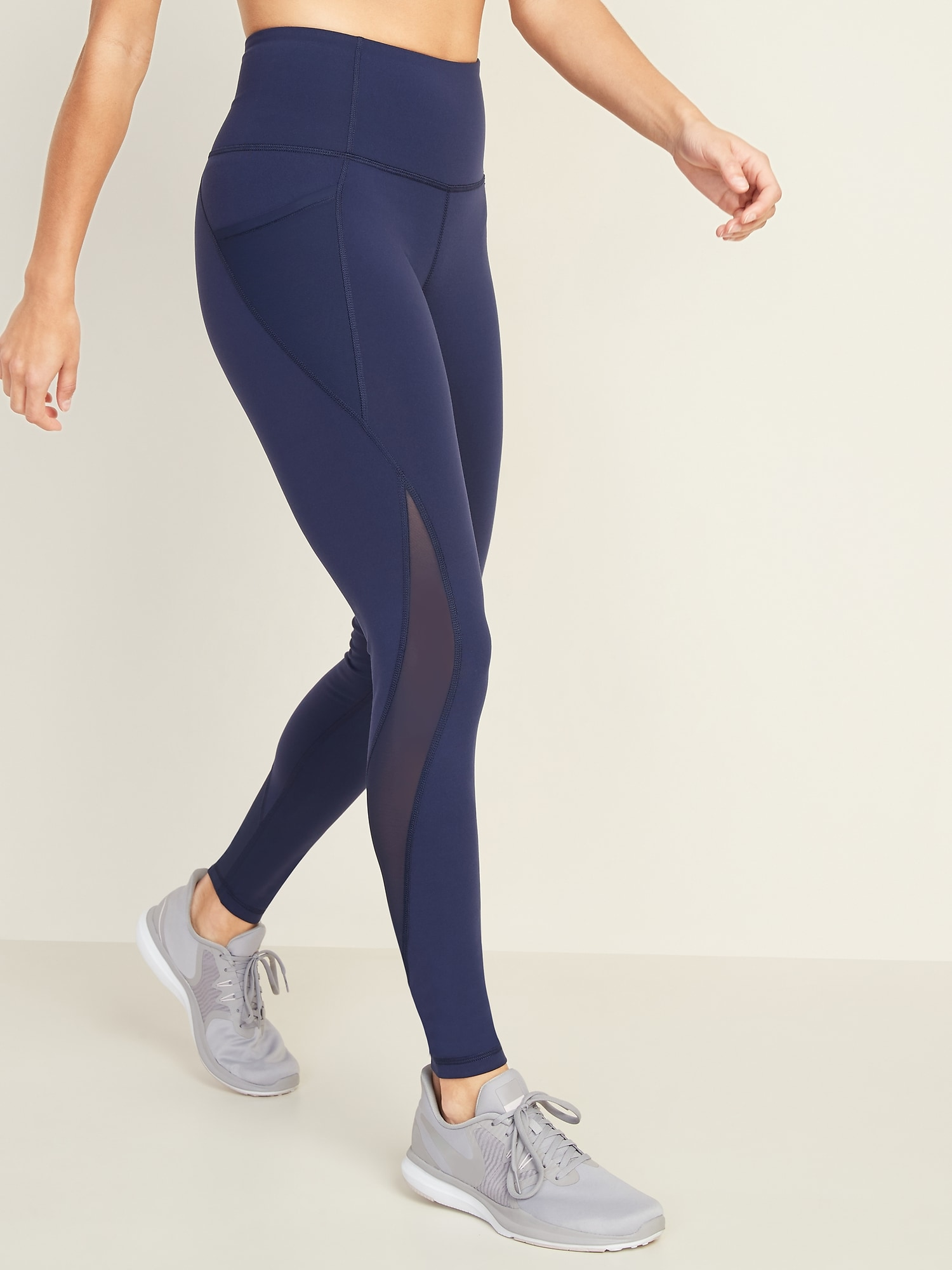17e6a4f6353361 High-Rise Elevate Side-Pocket Mesh-Trim Compression Leggings for Women