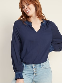 Smocked Split-Neck Gauze Blouse for Women