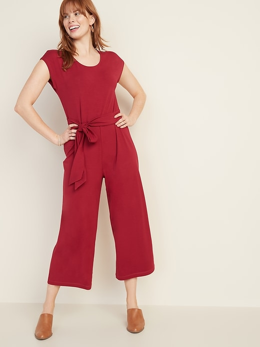 Jersey Tie-Belt Cap-Sleeve Jumpsuit for Women