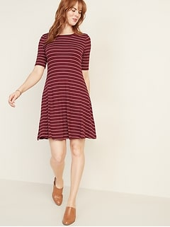 Rib-Knit Swing Dress for Women