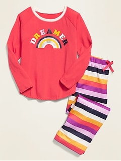 Graphic Jersey Pajama Set for Girls