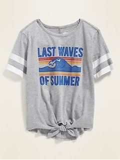 """Last Waves of Summer"" Sleeve-Stripe Tie-Hem Tee for Girls"