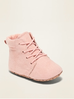 Faux-Suede Lace-Up Booties for Baby