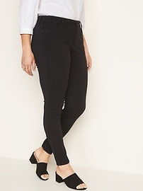 Mid-Rise 24/7 Sculpt Rockstar Super Skinny Black Jeans for Women