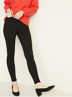 Mid-Rise Black Rockstar Super Skinny Jeggings for Women