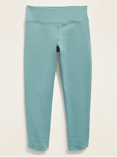 Mid-Rise Go-Dry Perforated Cropped Leggings for Girls