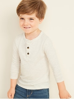 Slub-Knit Long-Sleeve Henley for Toddler Boys