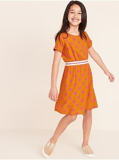 Exposed-Elastic Raglan-Sleeve Dress for Girls