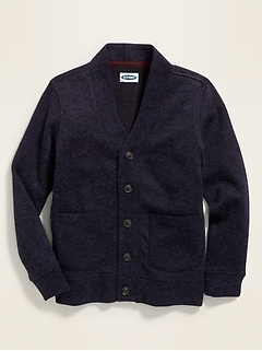 Uniform Button-Front Sweater-Fleece Cardigan for Boys