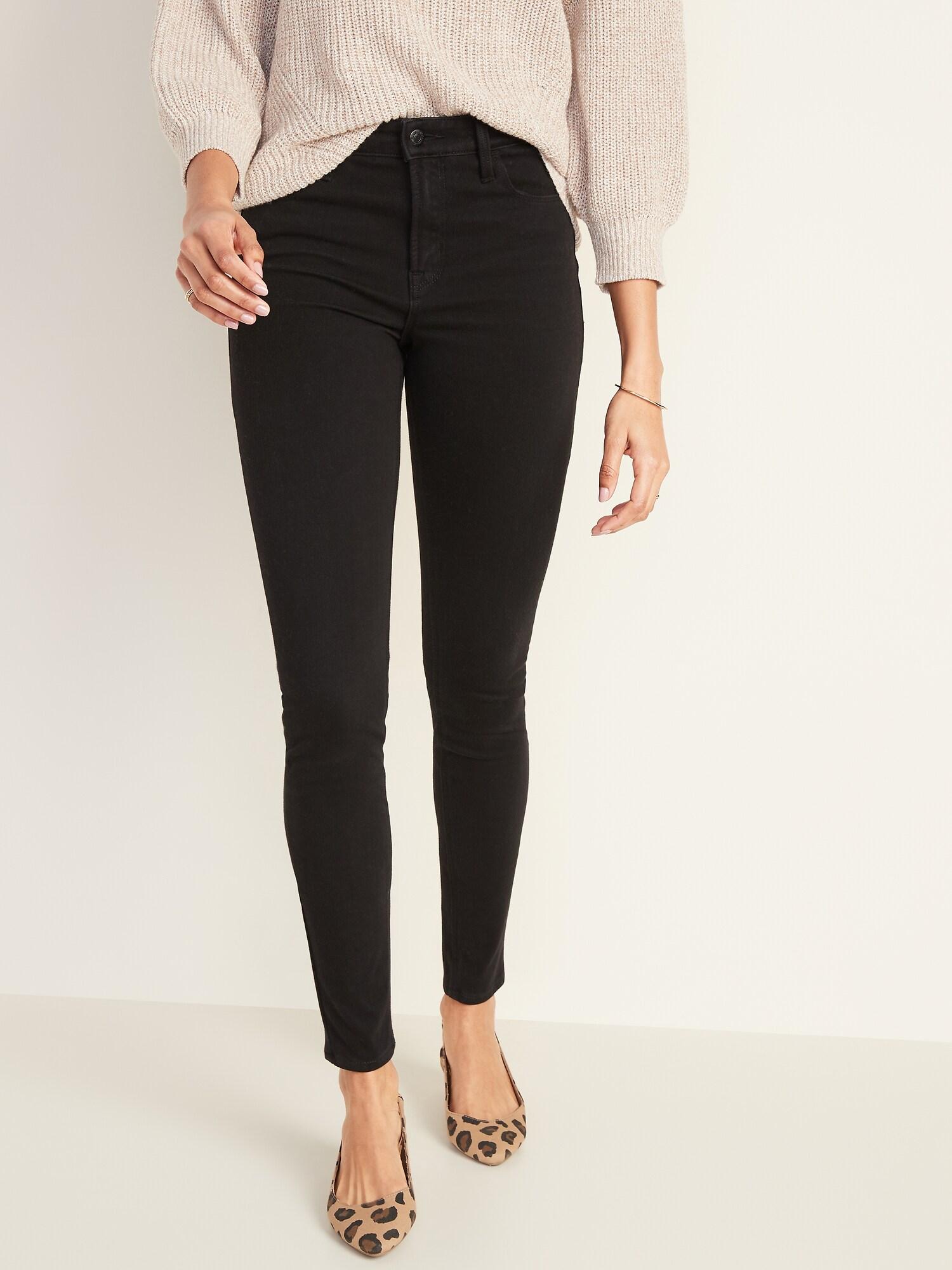 Ladies Womens High Waist Black Trousers School Work Skinny Pants Stretchy