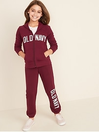 Logo-Applique Zip Hoodie for Girls