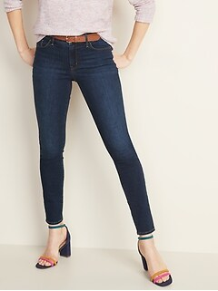 Mid-Rise Dark-Wash Pop Icon Skinny Jeans for Women