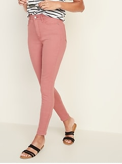 High-Waisted Pop-Color Rockstar Super Skinny Jeans For Women