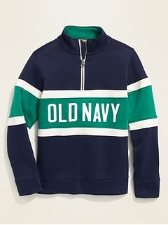 Color-Blocked Logo-Graphic 1/4-Zip Pullover for Boys
