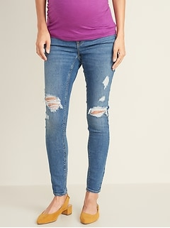 Maternity Front Low-Panel Distressed Rockstar Jeans