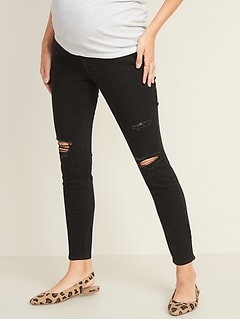 Maternity Full-Panel Distressed Rockstar Super Skinny Jeans