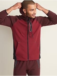 Dynamic Fleece Color-Blocked Zip Hoodie for Men