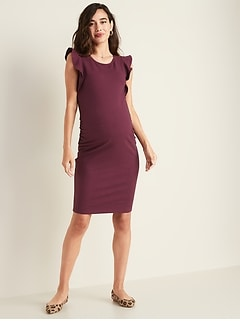Maternity Flutter-Sleeve Bodycon Dress
