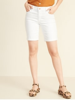 Slim White Denim Cuffed Bermudas for Women -- 9-inch inseam