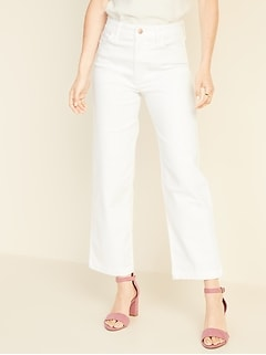 High-Rise Wide-Leg White Jeans for Women