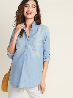 Maternity Chambray Popover Shirt