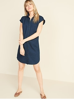 Dark-Wash Chambray Shirt Dress for Women
