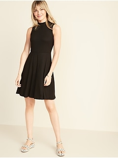 Fit & Flare Sleeveless Mock-Neck Dress for Women