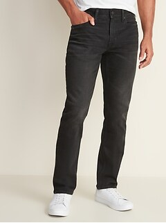 Built-In Flex Straight Black Jeans For Men