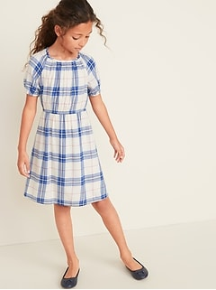 Waist-Defined Scoop-Neck Dress for Girls