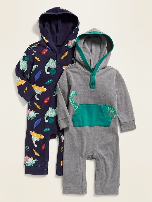 Hooded Printed Henley One-Piece 2-Pack for Baby