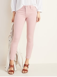 Mid-Rise Rockstar Super Skinny Pop-Color Jeans for Women