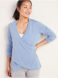 Faux-Wrap French-Terry Sweatshirt for Women