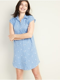 Multi-Stripe Linen-Blend Shirt Dress for Women