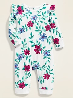 Printed Ruffle-Trim One-Piece for Baby