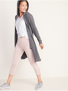 Elongated Open-Front French Terry Wrap Hoodie for Women