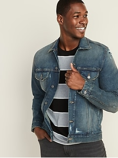 Distressed Built-In Tough Jean Jacket For Men