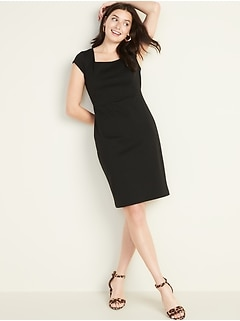 Square-Neck Ponte-Knit Sheath Dress for Women