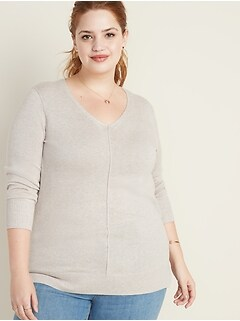 Rib-Knit Plus-Size V-Neck Tunic
