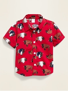 Buffalo-Print Poplin Shirt for Baby