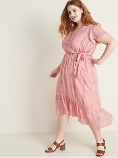 Waist-Defined Faux-Wrap Plus-Size Midi