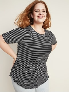 Luxe Striped Elbow-Sleeve Plus-Size Tunic Tee