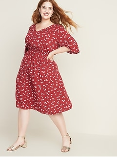 Waist-Defined Elbow-Sleeve Plus-Size Dress