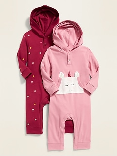 Hooded Henley One-Piece 2-Pack for Baby