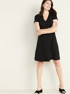 Waist-Defined Faux-Wrap Jersey Dress for Women